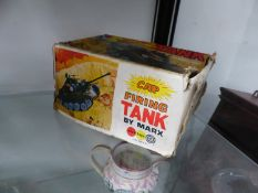 A CAP FIRING TANK BY MARX TOYS BOXED
