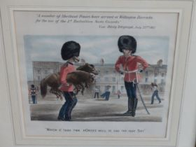 AN ANTIQUE COLOUR COMIC PRINT RELATING TO THE SCOTS GUARDS PUBLISHED BY REYNOLDS AND CO. 32.5 x 33