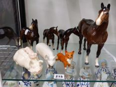 FOUR BESWICK HORSES, TWO PIGS AND A CORGI