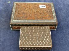 ONE CARVED AND INLAID EASTERN BOX, AND ONE OTHER INLAID EXAMPLE .