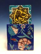 A MIDDLE EASTERN TILE PAINTED WITH A TIGRESS ON A YELLOW GROUND WITHIN A STAR AND TURQUOISE