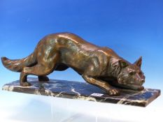A COPPER COATED FIGURE OF A STEALTHY FOX WALKING ACROSS A WHITE VEINED GREY STONE RECTANGULAR