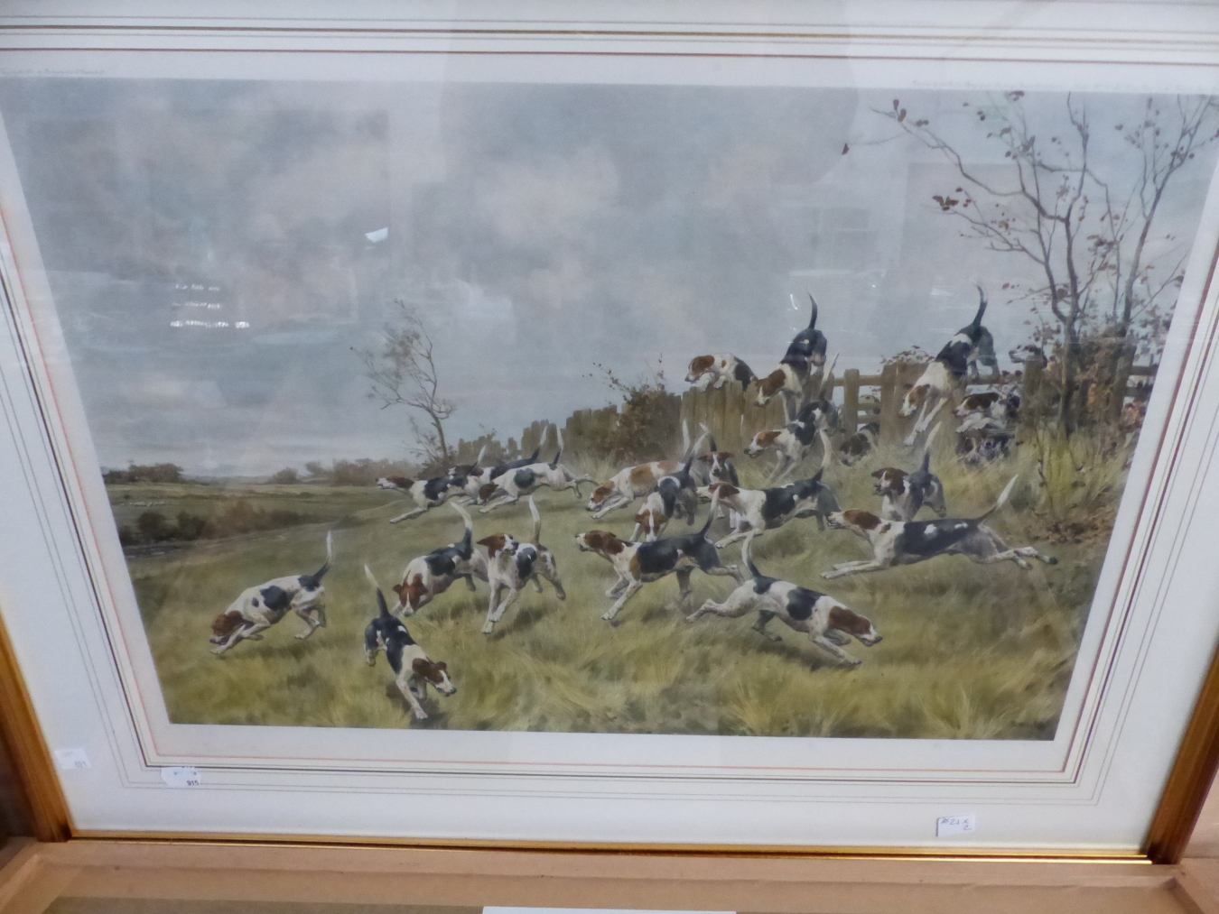 AFTER T BLINKS. TWO HAND COLOURED PRINTS OF FOX HOUNDS. 42 x 59cms (2) - Image 4 of 7