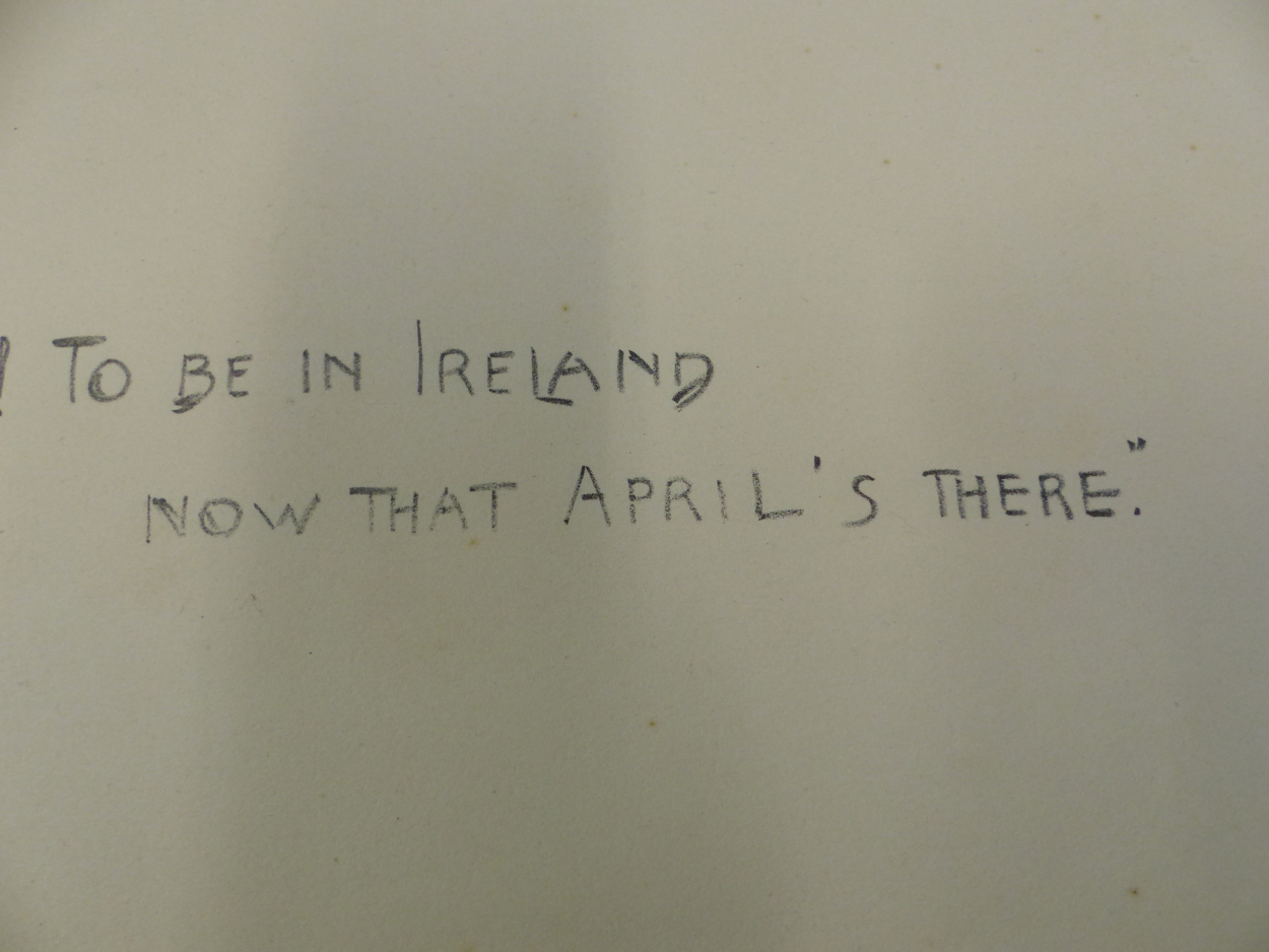 """FIVE PENCIL SIGNED SNAFFLES REMARQUE MOUNTS FOR THE IMAGE TITLES """"OH, TO BE IN IRELAND NOW THAT - Image 2 of 7"""