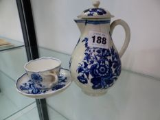 A ANTIQUE FIRST PERIOD WORCESTER SPARROW BEAK JUG TOGETHER WITH A SMALL MEISSEN CUP AND SAUCER