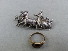 A ANTIQUE RING AND A CONTINENTAL SILVER BROOCH