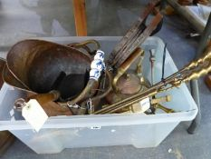 BRASS WARE TO INCLUDED COAL SCUTTLES, TEA POT, FIRE DOGS, COMPANION SET, BELLOWS ETC