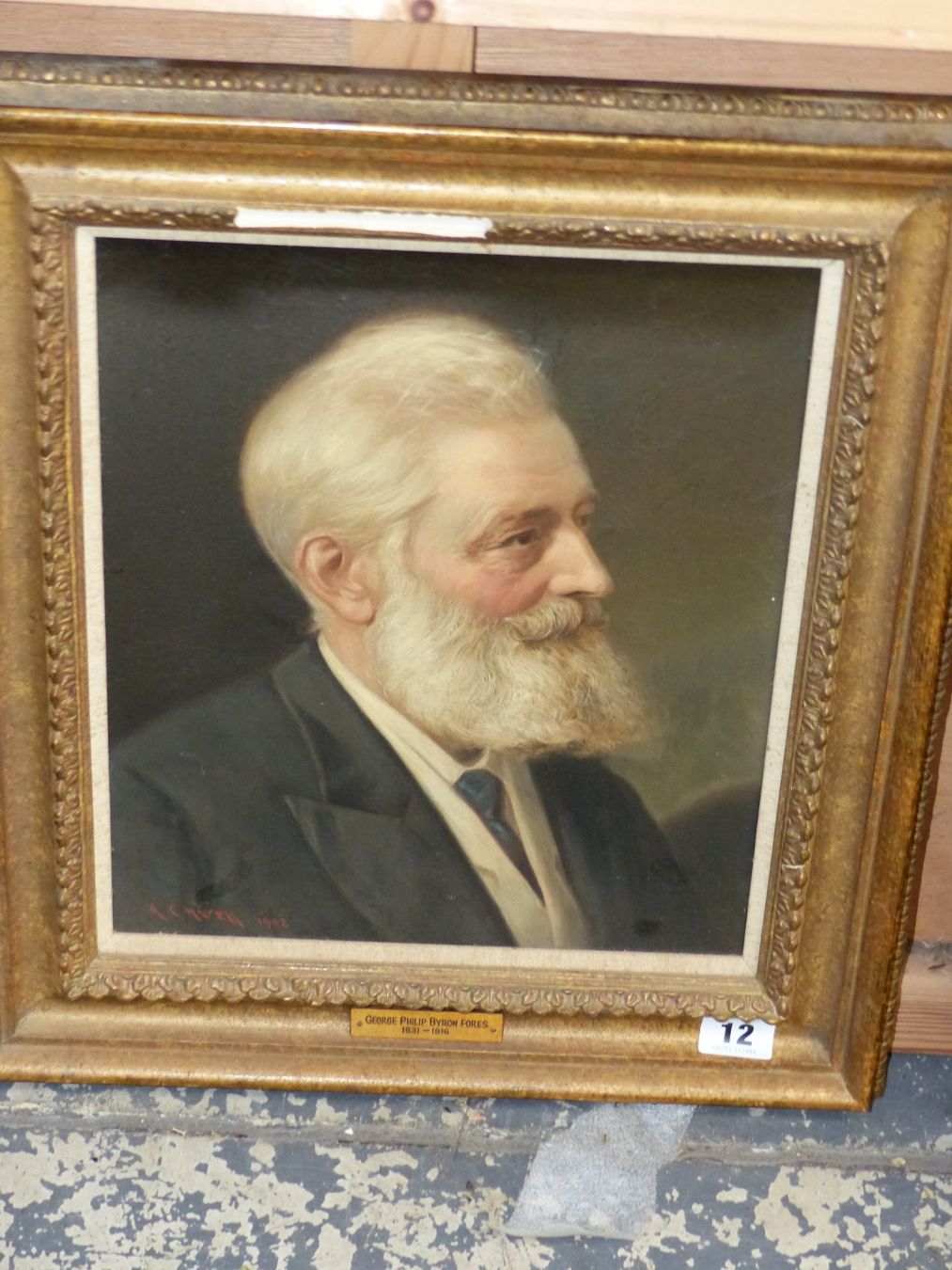 A, C. HAVELL (1855-1928) PORTRAIT OF GEORGE PHILIP BYRON FORES 1831-1916. SIGNED OIL ON CANVAS. 33 X - Image 2 of 3