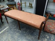 A CARVED MAHOGANY NEO CLASSICAL STYLE WINDOW SEAT. 125cms WIDE