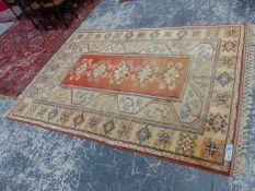 A TURKISH TRIBAL SMALL CARPET, 284 x 200cms