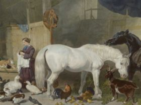"""AFTER J.F. HERRING. TWO LARGE HAND COLOURED FOLIO PRINTS. """"AN ENGLISH FARM YARD"""" TOGETHER WITH """"A"""
