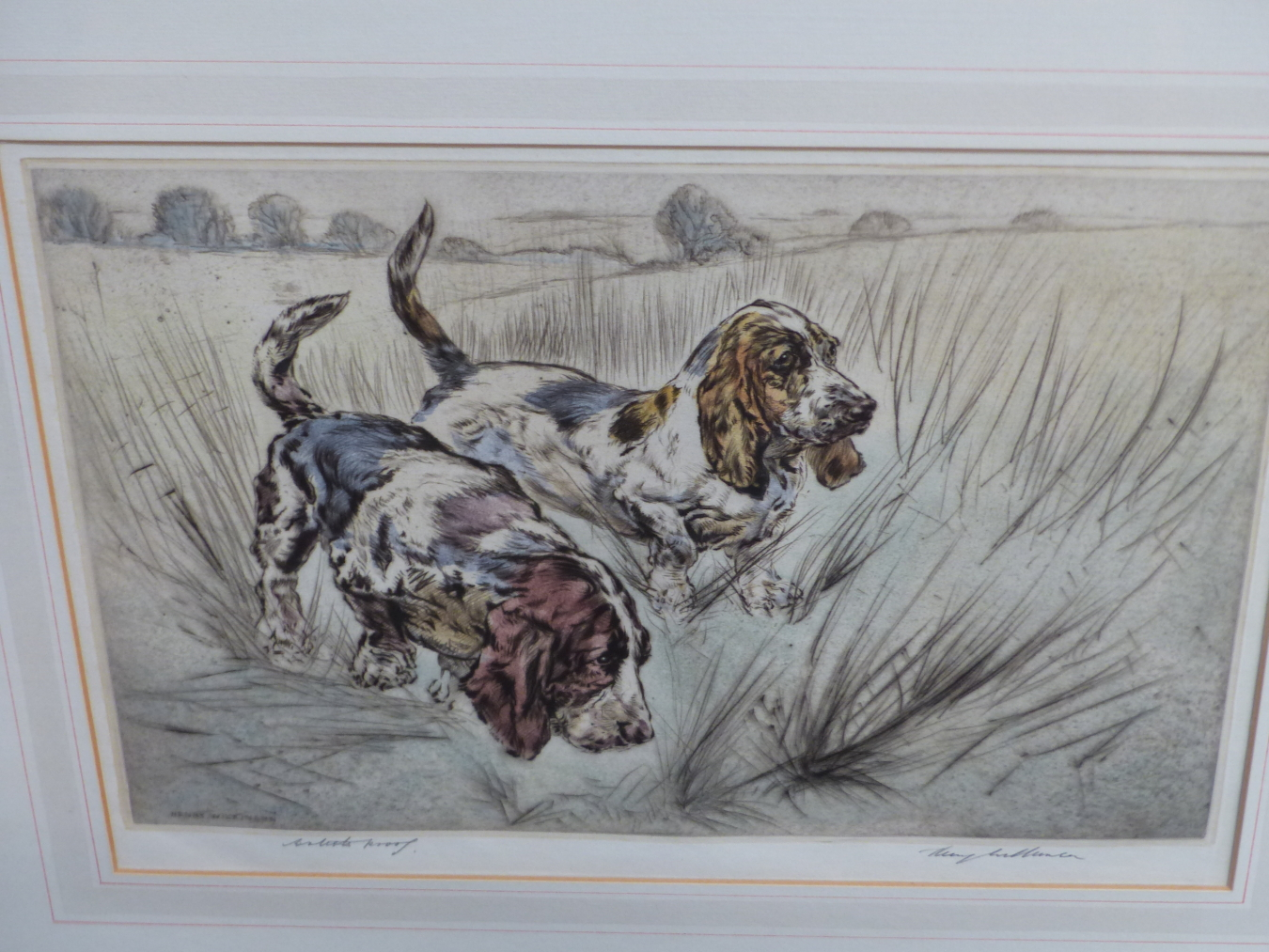 HENRY WILKINSON. THREE PENCIL SIGNED COLOUR ETCHINGS OF DOGS. TOGETHER WITH A PENCIL SIGNED - Image 6 of 7