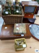 AN INLAID WOODEN HAND MIRROR, A CASED BOX OF COUNTERS, A BRASS CARRIAGE CLOCK, FOUR POTTERY