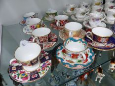 TWELVE MINIATURE ROYAL WORCESTER VARIOUS TEACUP AND SAUCERS, TOGETHER WITH STAFFORDSHIRE ELIZABETHAN