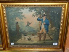 TWO ANTIQUE HAND COLOURED SHOOTING PRINTS, PERIOD GILT FRAMES 30 x 37cmS (2)