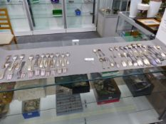 A GOOD COLLECTION OF 18th CENTURY AND LATER HALLMARKED SILVER CUTLERY. WEIGHT APPROX 2561grms.