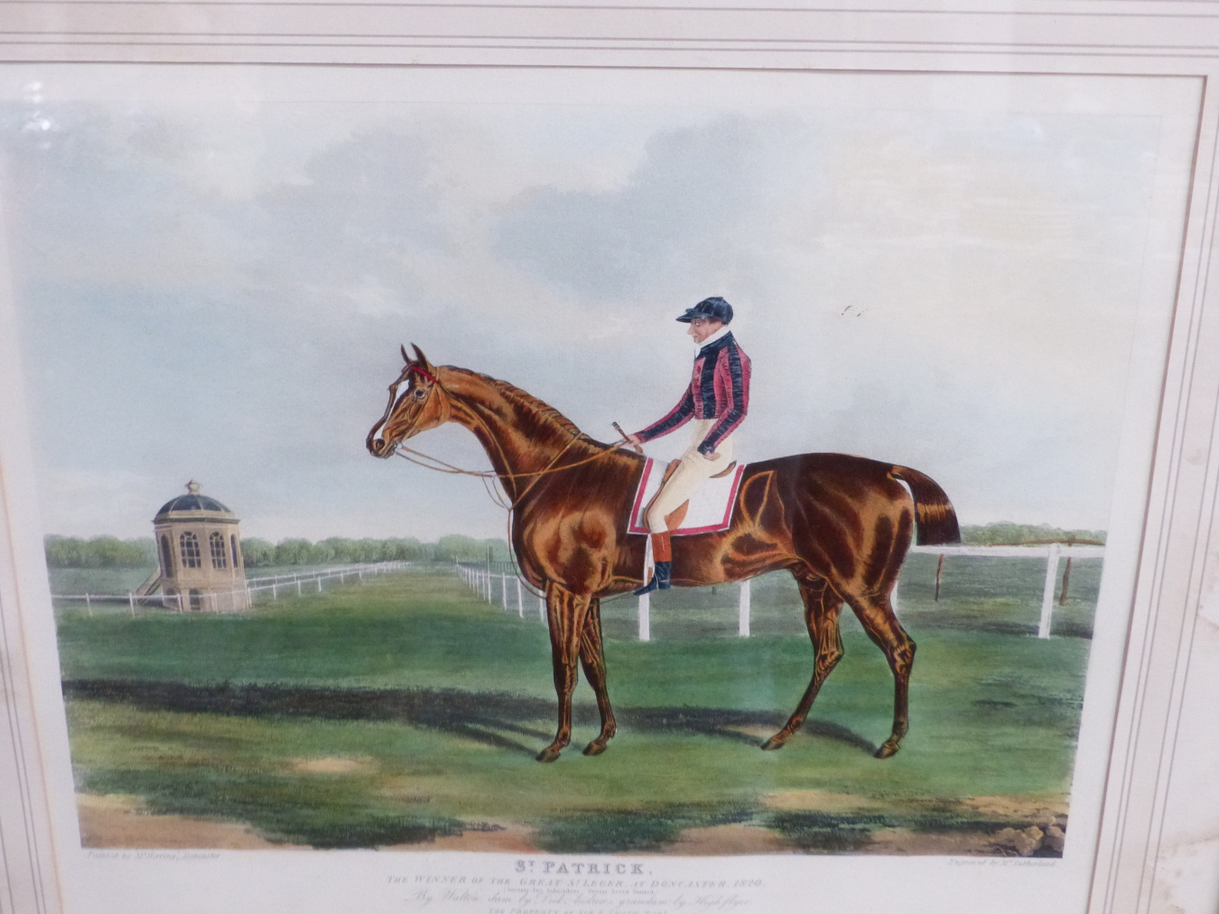 AFTER J.F. HERRING. A HAND COLOURED PRINT OF THE RACE HORSE ST. PATRICK. 37 x 44cms TOGETHER WITH