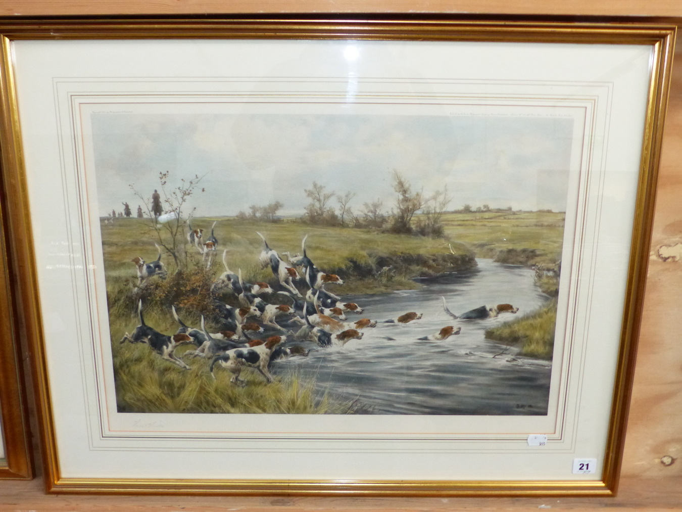 AFTER T BLINKS. TWO HAND COLOURED PRINTS OF FOX HOUNDS. 42 x 59cms (2) - Image 2 of 7