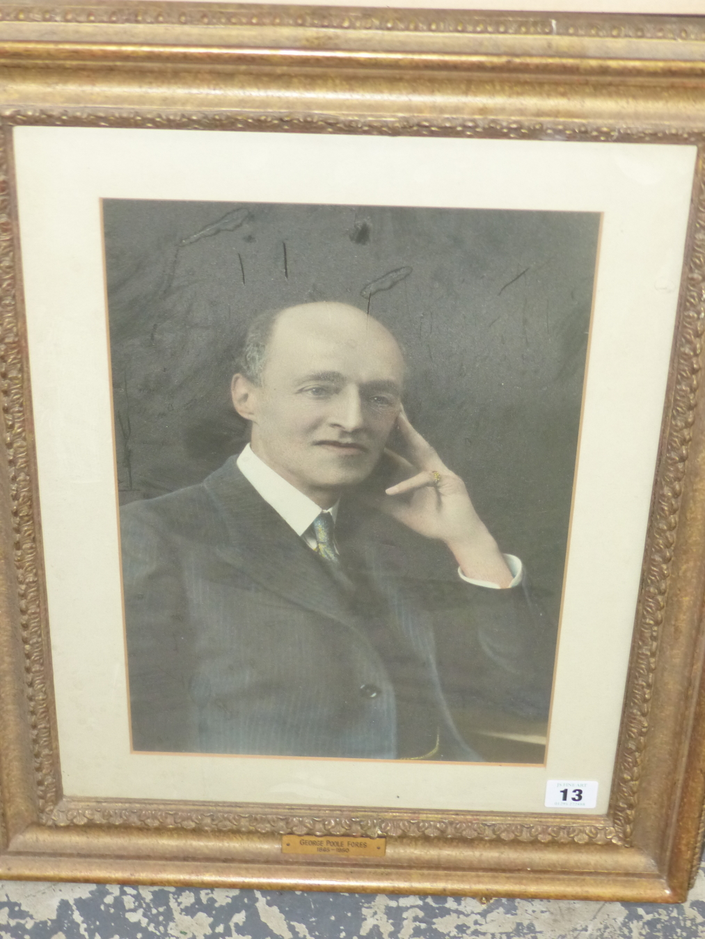 A VINTAGE PHOTOGRAPHIC PORTRAIT OF GEORGE POOLE FORES. 37 x 25cms - Image 2 of 3