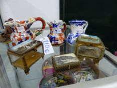 THREE SOUVENIR TRINKET BOXES TOGETHER WITH THREE IRON STONE SMALL JUGS.