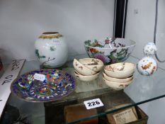 A QUANTITY ORIENTAL WARE TO INCLUDE SATSUMA SAKI BOWLS A SMALL GINGER JAR AND A SMALL DOUBLE GOURD