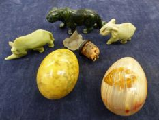 THREE HARDSTONE CARVED ANIMALS AND TWO EGGS