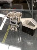 A HALLMARKED SILVER CHILD'S CHRISTENING CUP ENGRAVED 1940, TOGETHER WITH A HALLMARKED SILVER