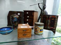 A MINIATURE BUREAU, A LACQUER CABINET, BURR MAPLE DRAWERS, TWO PIECES OF CLOISONNE AND A SPELTER