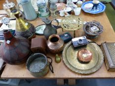 A COLLECTION OF PERSIAN METAL WARES, A INLAID BOX, SILVER PLATED WARES ETC