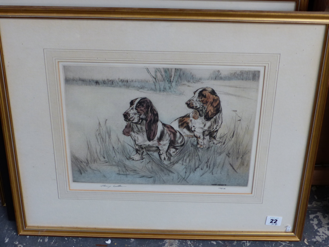 HENRY WILKINSON. THREE PENCIL SIGNED COLOUR ETCHINGS OF DOGS. TOGETHER WITH A PENCIL SIGNED - Image 2 of 7