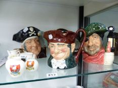 FIVE ROYAL DOULTON CHARACTER JUGS AND FIVE CRESTED WARES