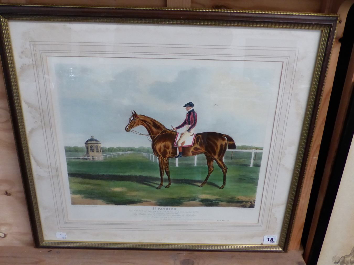 AFTER J.F. HERRING. A HAND COLOURED PRINT OF THE RACE HORSE ST. PATRICK. 37 x 44cms TOGETHER WITH - Image 2 of 4