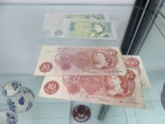 THREE TEN SHILLING NOTES AND THREE ONE POUND