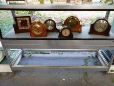 SIX VARIOUS MANTEL CLOCKS