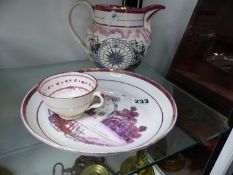 A SUNDERLAND LUSTRE THE MARINERS COMIASS JUG A LUSTRE PLATE AND TEA CUP