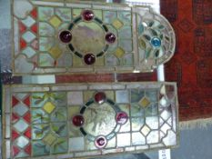 2 STAINED GLASS LEADED WINDOW PANELS