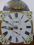 A 19th C. MAHOGANY LONG CASED CLOCK, THE DIAL PAINTED WITH BLOSSOM SPRAY SPANDRELS AND A THREE
