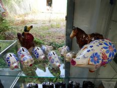 A QUANTITY OF ARTHUR WOOD PAINTED PIG MONEY BOXES, TOGETHER WITH A LARGE SHIRE HORSE AND A DUCK JUG