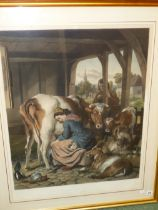 """AFTER SIR EDWIN LANDSEER. A LARGE HAND COLOURED FOLIO PRINT. TITLED """"THE MAID AND THE MAGPIE"""". 80"""
