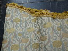 VARIOUS CURTAINS AND PELMETS OF ARTS AND CRAFTS PATTERN TOGETHER WITH A MID CENTURY PAIR OF