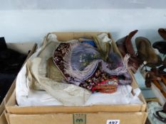 A GOOD COLLECTION OF ANTIQUE AND LATER LINENS, LACE, COTHING, ICE SKATES WITH LEATHER BOOT