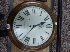 A GEORGE V MAHOGANY CASED INGAM BROS WALL CLOCK, THE FUSEE MOVEMENT WITH A PENDULUM WITH BRASS