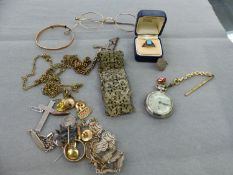 VINTAGE JEWELLERY TO INCLUDE A ART DECO STYLE RING, 9ct GOLD AND PLATED SPECTACLES. A CRUCIFIX,