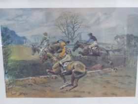 AFTER SNAFFLES, CHARLES JOHNSON PAYNE (1884-1967) SANDOWN.. COLOUR PRINT. 48 x 63.5cms