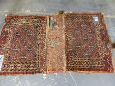 THREE ANTIQUE TRIBAL PIECES, TWO TURKOMAN BAG FACES AND AN UNUSUAL FLAT WEAVE PANEL (3)