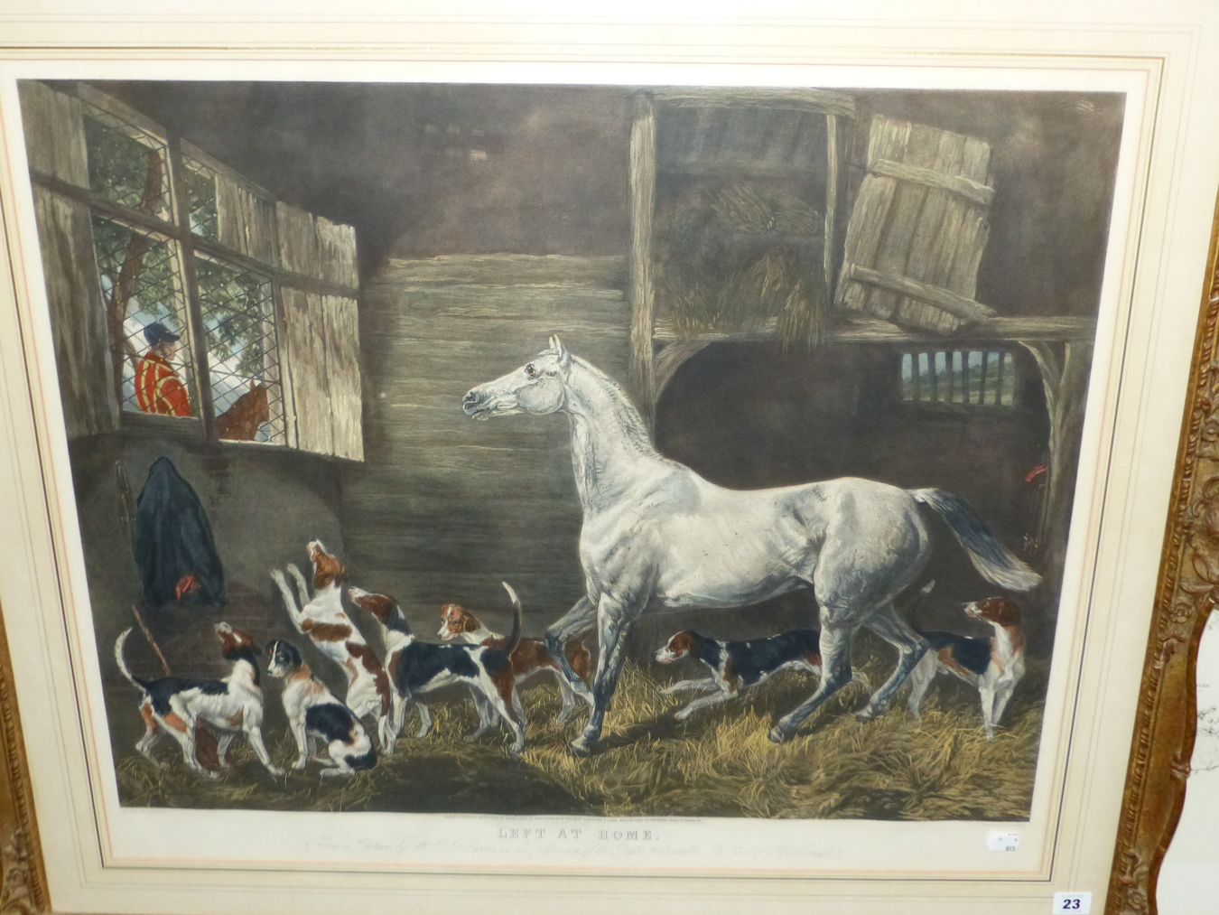 """AFTER R.B. DAVIS. A LARGE HAND COLOURED FOLIO PRINT. TITLED """"LEFT AT HOME"""". 64 x 77cms SWEPT GILT - Image 2 of 5"""