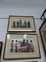 AFTER A.E HASWELL MILLER, TWO DECORATIVE COLOUR PRINTS OF MILITARY DRESS OF THE FIRST OR GRENADIER R