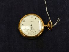 AN ELGIN OPEN FACED GOLD PLATED POCKET WATCH, ENGRAVED PHILADELPHIA WATCH CASE CO, WITH A SCREW DOWN