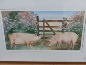 TWO PENCIL SIGNED LIMITED EDITION COLOUR PRINTS OF PIGS, ONE AFTER NIGEL HEMMING. 47x57cms AND