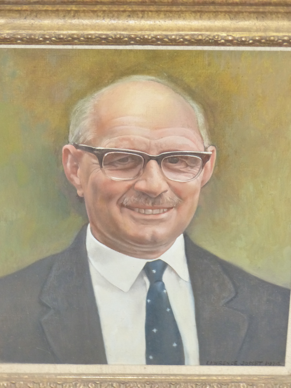 LAWRENCE JOSSET (1910-1995) PORTRAIT OF MR LING. SIGNED AND DATED. OIL ON CANVAS. 33 x 28cms